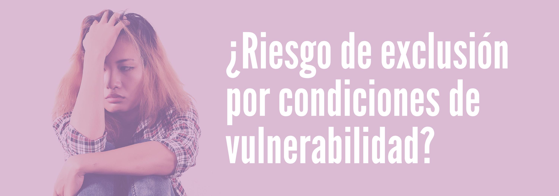 Banner sobre problemática de riesgo de exclusión por condiciones de vulnerabilidad