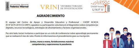 CADEP-ACACIA-UNFV Desarrolla diagnóstico de las competencias digitales, recursos tecnológicos, factores organizacionales y respuestas emocionales ante la pandemia COVID 19.