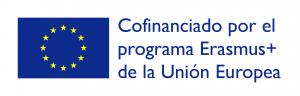 Bandera de la unión europea con el texto: Cofinanciado por el programa Erasmus + de la Unión Europea