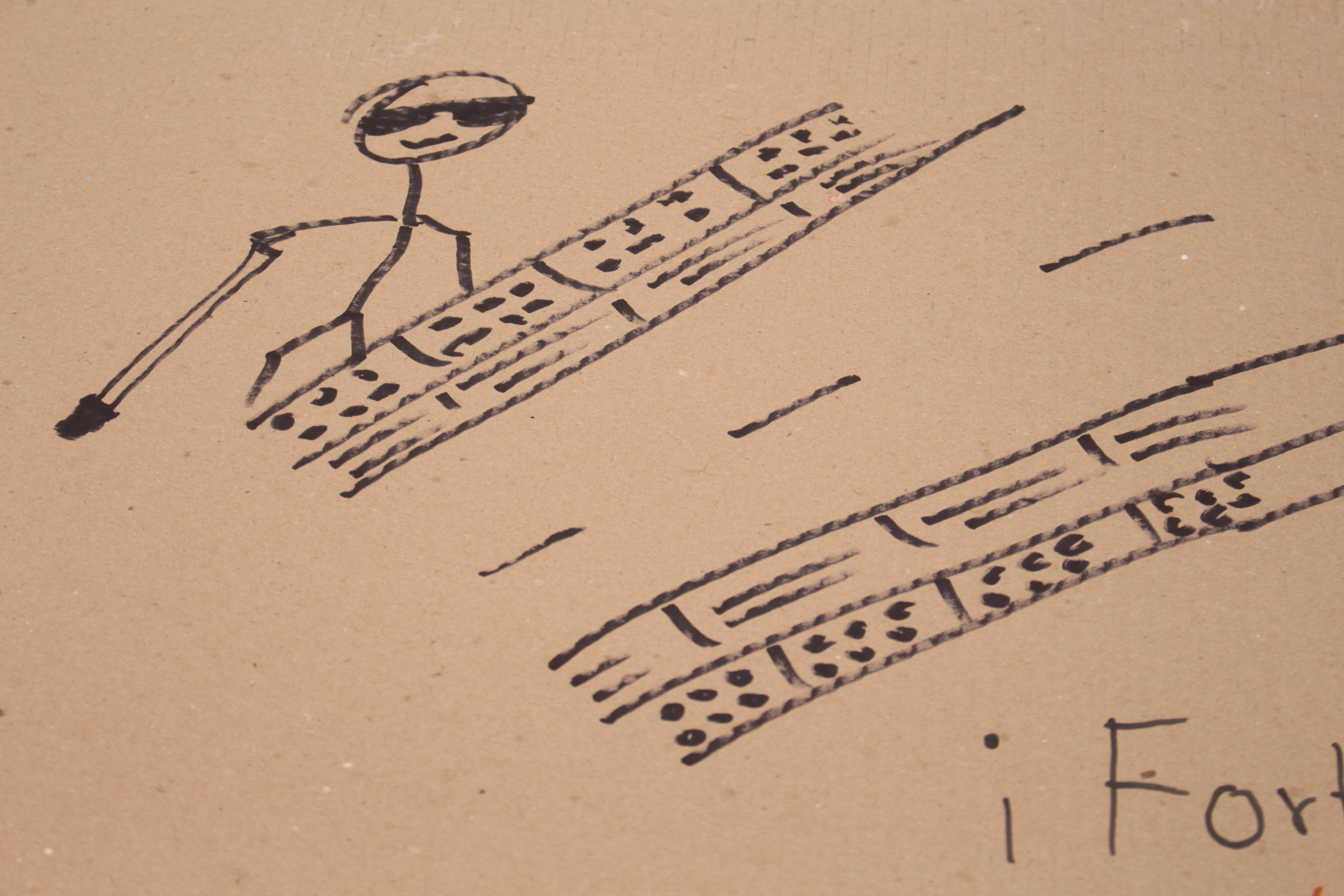 Dibujo de persona ciega caminando sobre unas baldosas con señalización