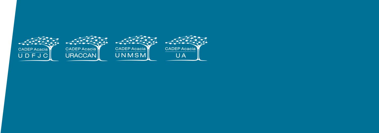 Fondo con logos de los CADEP UDFJC, URACCAN, UNMSM, UA