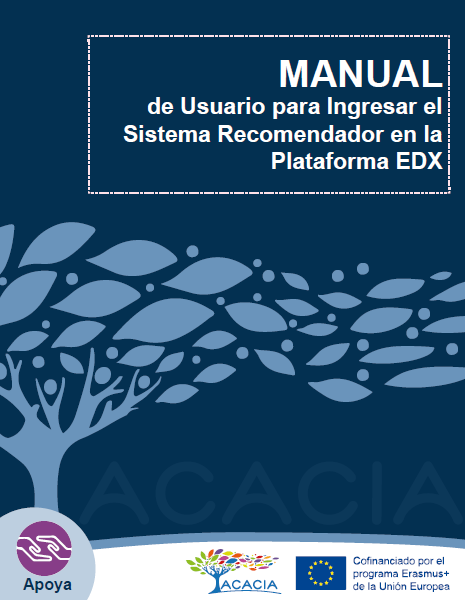 Portada de manual de usuario para ingresar el sistema recomendador en la plataforma edx