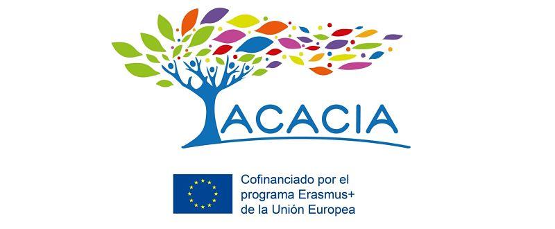 Logo con el árbol de ACACIA y el logo de la unión europea