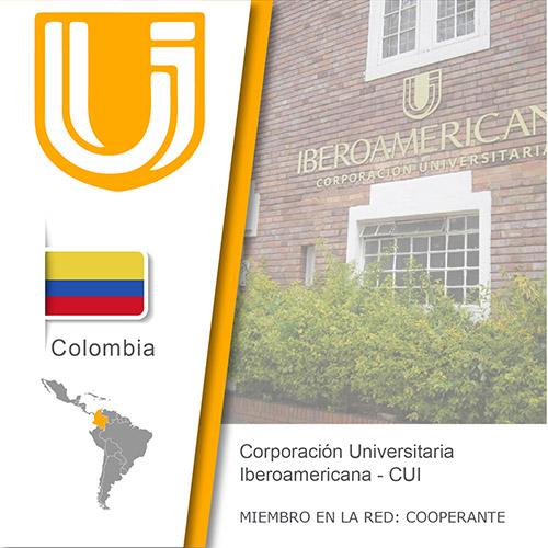 Logo de la CUI, Bandera de Colombia, ubicación del país en américa del sur, Universidad como miembro cooperante de la red