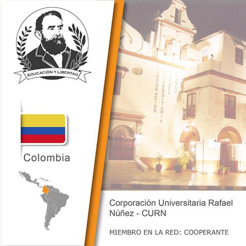 Logo de la CURN, Bandera de Colombia, ubicación del país en américa del sur, Universidad como miembro cooperante de la red