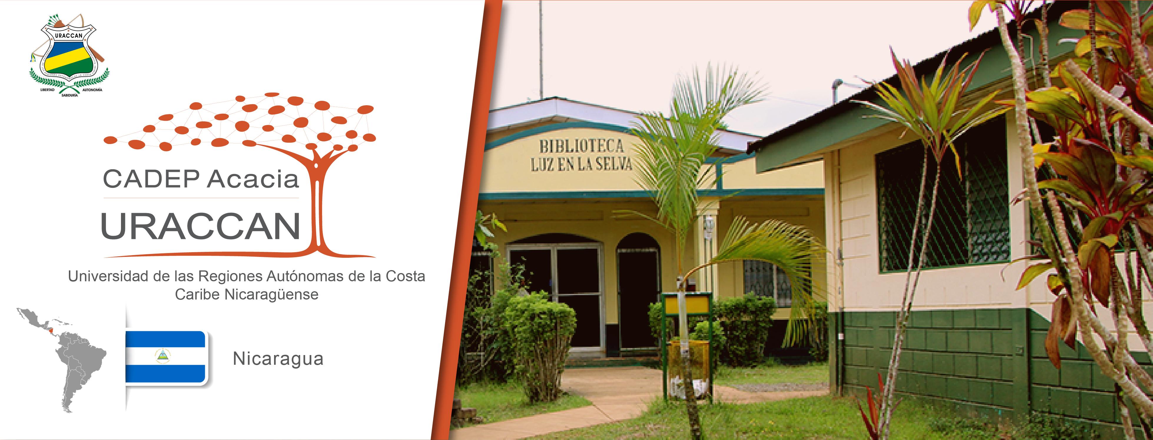Logo de la URACCAN, logo del CADEP URACCAN, bandera de Nicaragua, ubicación del país en américa del sur y una foto que muestra la biblioteca luz en la selva de la universidad