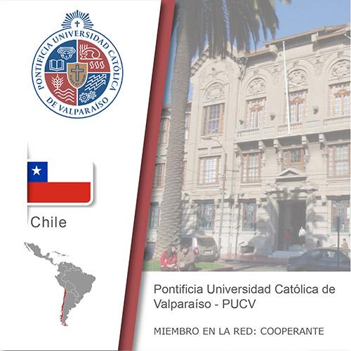 Logo de la PUCV, Bandera de Chile, ubicación del país en américa del sur, Universidad como miembro cooperante de la red