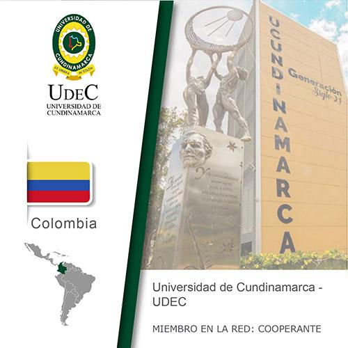Logo de la Universidad de cundinamarca, Bandera de Colombia, ubicación del país en américa del sur, Universidad como miembro cooperante de la red