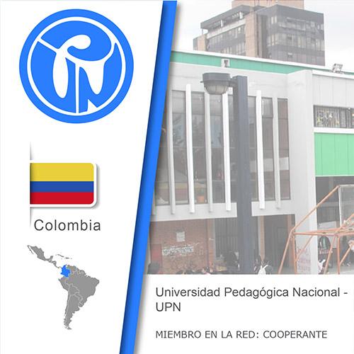 Logo de la UPN, Bandera de Colombia, ubicación del país en américa del sur, Universidad como miembro cooperante de la red