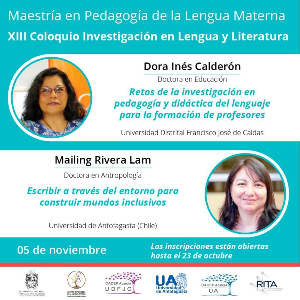 Foto de la doctora en educación Dora Calderón - UDFJC Colombia, Foto de la doctora en antropología Mailing Rivera - UA Chile, Fecha: 05 de noviembre