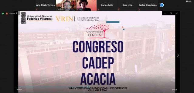 Imagen del congreso CADEP Acacia UNFV, logo UNFV, logo CADEP UNFV, nombres de algunos participantes del congreso