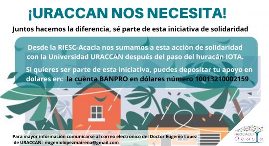 Acción de solidaridad con la Universidad URACCAN después del paso del huracán IOTA